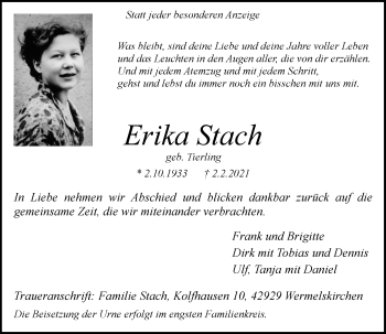 Traueranzeige von Erika Stach von Rheinische Post