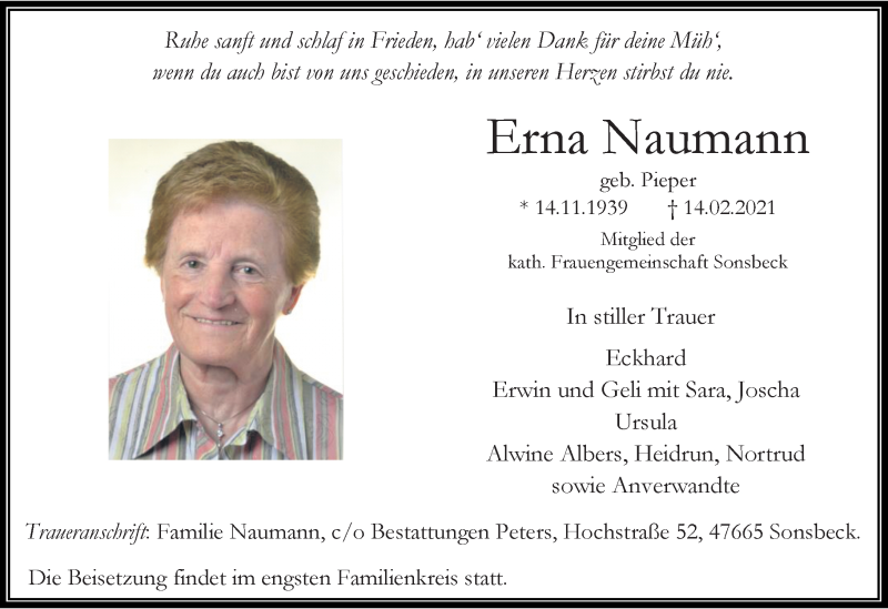 Traueranzeige für Erna Naumann vom 20.02.2021 aus Rheinische Post