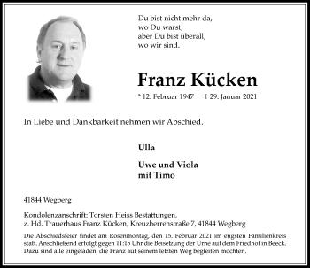 Traueranzeige von Franz Kücken von Rheinische Post