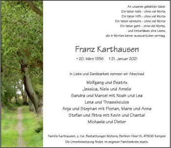 Traueranzeige von Franz Karthausen von Rheinische Post
