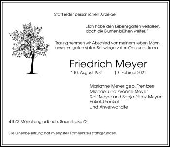 Traueranzeige von Friedrich Meyer von Rheinische Post