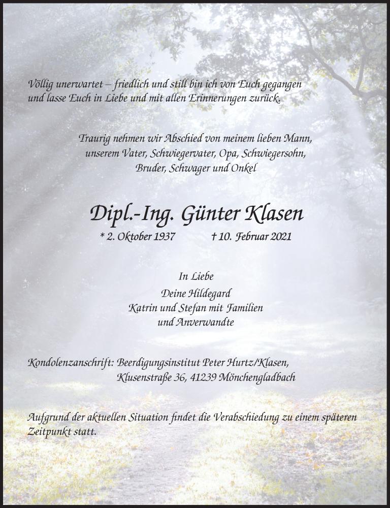 Traueranzeige für Günter Klasen vom 20.02.2021 aus Rheinische Post