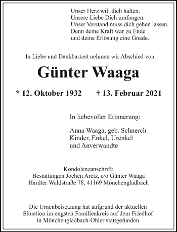Traueranzeige von Günter Waaga von Rheinische Post