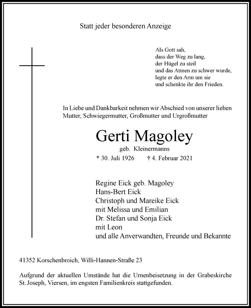 Traueranzeige für Gerti Magoley vom 13.02.2021 aus Rheinische Post