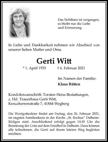 Traueranzeige von Gerti Witt von Rheinische Post
