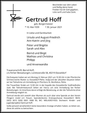 Traueranzeige von Gertrud Hoff von Rheinische Post