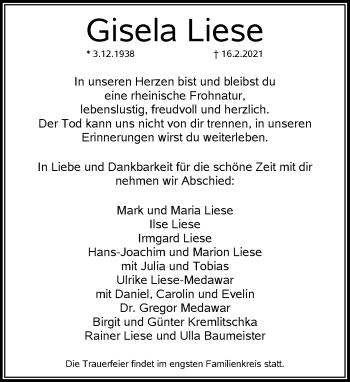 Traueranzeige von Gisela Liese von Rheinische Post
