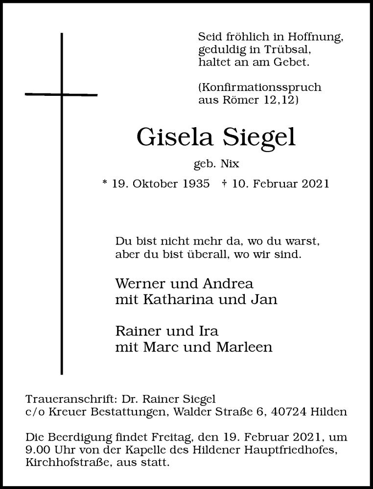 Traueranzeige für Gisela Siegel vom 13.02.2021 aus Rheinische Post