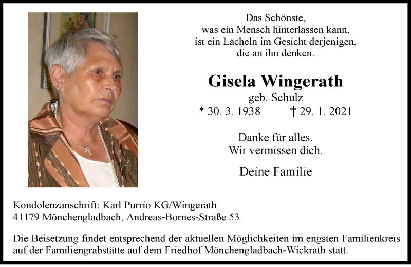Traueranzeige für Gisela Wingerath vom 06.02.2021 aus Rheinische Post