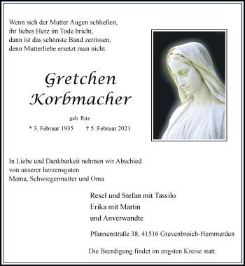 Traueranzeige von Gretchen Korbmacher von Rheinische Post