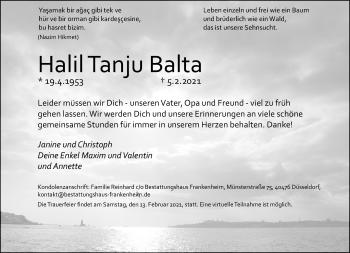 Traueranzeige von Halil Tanju Balta von Rheinische Post