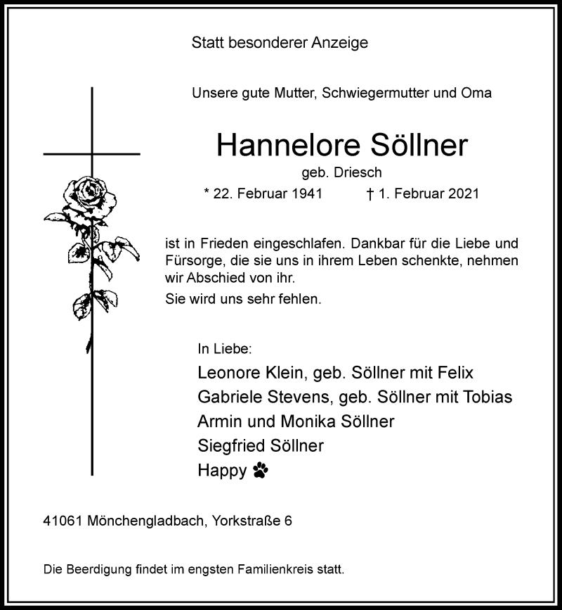 Traueranzeige für Hannelore Söllner vom 06.02.2021 aus Rheinische Post