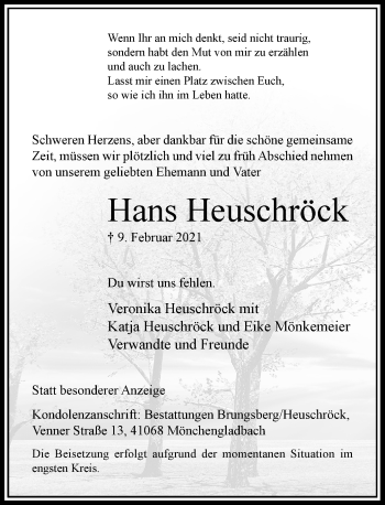 Traueranzeige von Hans Heuschröck von Rheinische Post