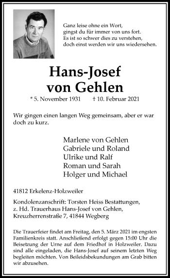 Traueranzeige von Hans-Josef von Gehlen von Rheinische Post