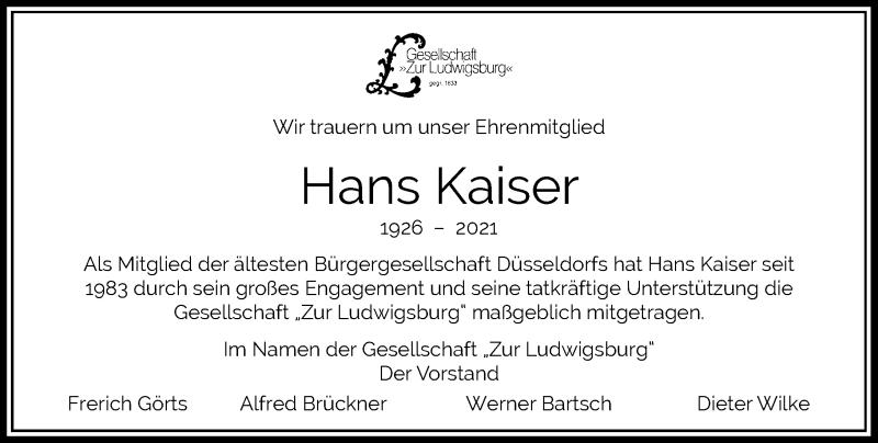 Traueranzeige für Hans Kaiser vom 20.02.2021 aus Rheinische Post