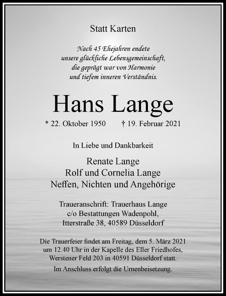 Traueranzeige für Hans Lange vom 27.02.2021 aus Rheinische Post