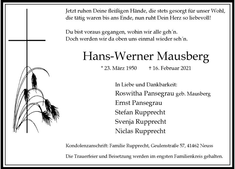 Traueranzeige für Hans-Werner Mausberg vom 20.02.2021 aus Rheinische Post