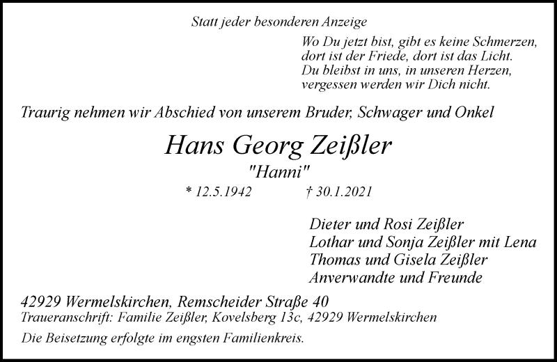 Traueranzeige für Hans Georg Zeißler vom 20.02.2021 aus Rheinische Post