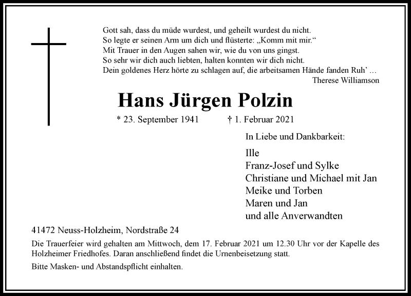 Traueranzeige für Hans Jürgen Polzin vom 13.02.2021 aus Rheinische Post