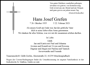 Traueranzeige von Hans Josef Grefen von Rheinische Post
