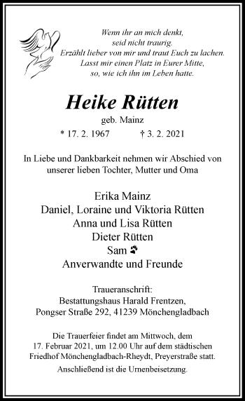 Traueranzeige von Heike Rütten von Rheinische Post