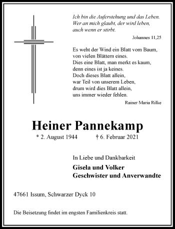 Traueranzeige von Heiner Pannekamp von Rheinische Post