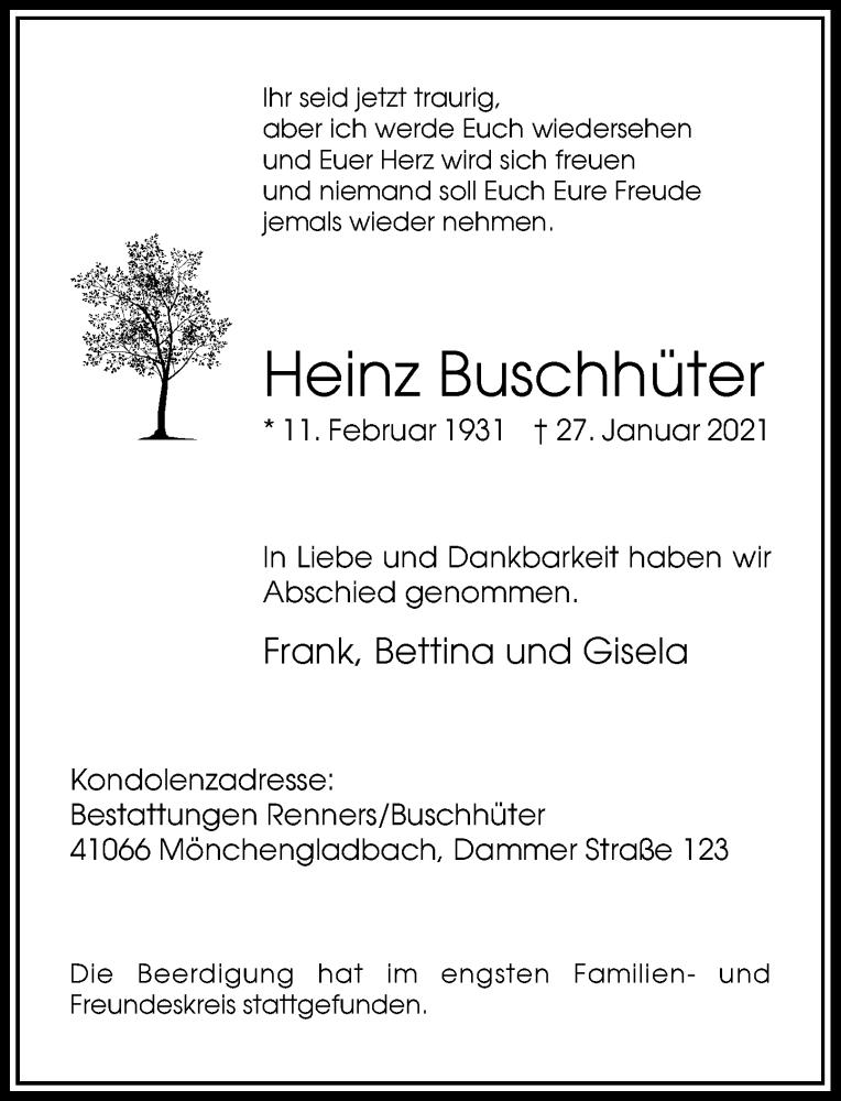 Traueranzeige für Heinz Buschhüter vom 13.02.2021 aus Rheinische Post