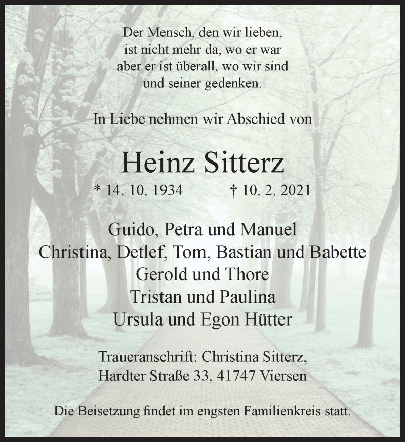 Traueranzeige für Heinz Sitterz vom 20.02.2021 aus Rheinische Post