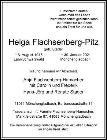 Traueranzeige von Helga Flachsenberg-Pitz von Rheinische Post