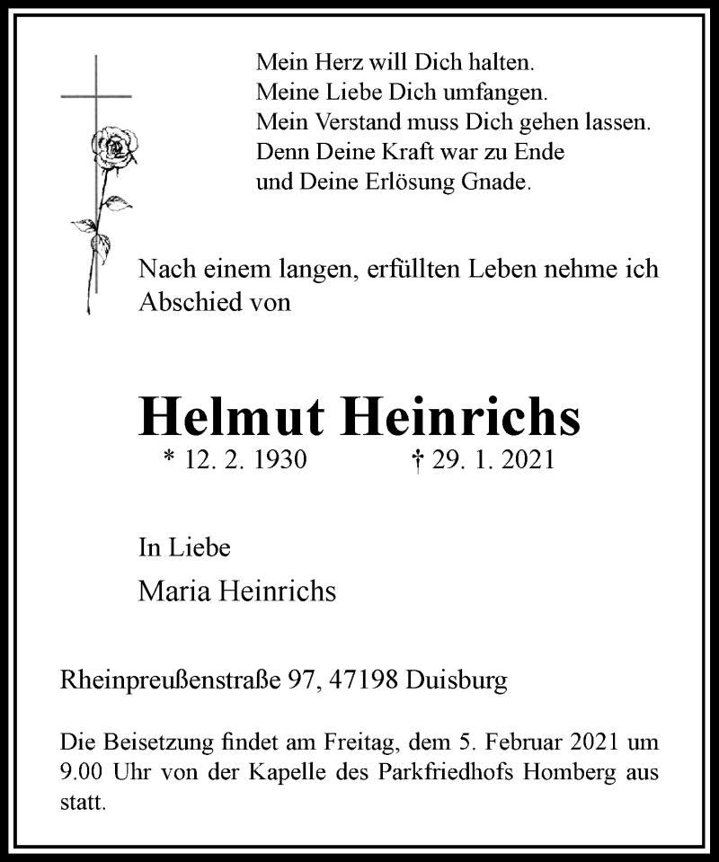 Traueranzeige für Helmut Heinrichs vom 02.02.2021 aus Rheinische Post