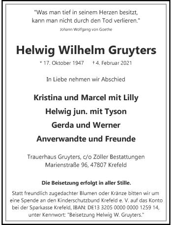 Traueranzeige von Helwig Wilhelm Gruyters von Rheinische Post