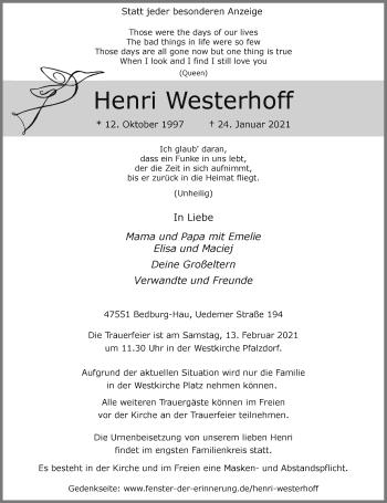 Traueranzeige von Henri Westerhoff von Rheinische Post