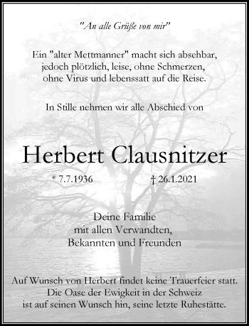 Traueranzeige von Herbert Clausnitzer von Rheinische Post