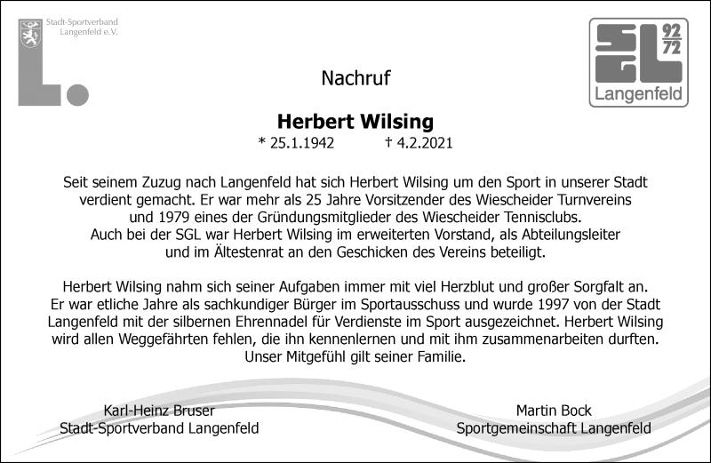 Traueranzeige für Herbert Wilsing vom 20.02.2021 aus Rheinische Post