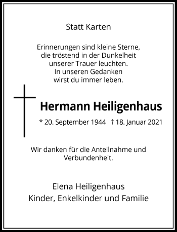 Traueranzeige von Hermann Heiligenhaus von Rheinische Post