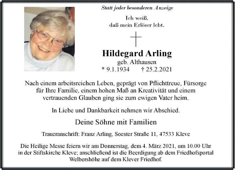 Traueranzeige für Hildegard Arling vom 27.02.2021 aus Rheinische Post