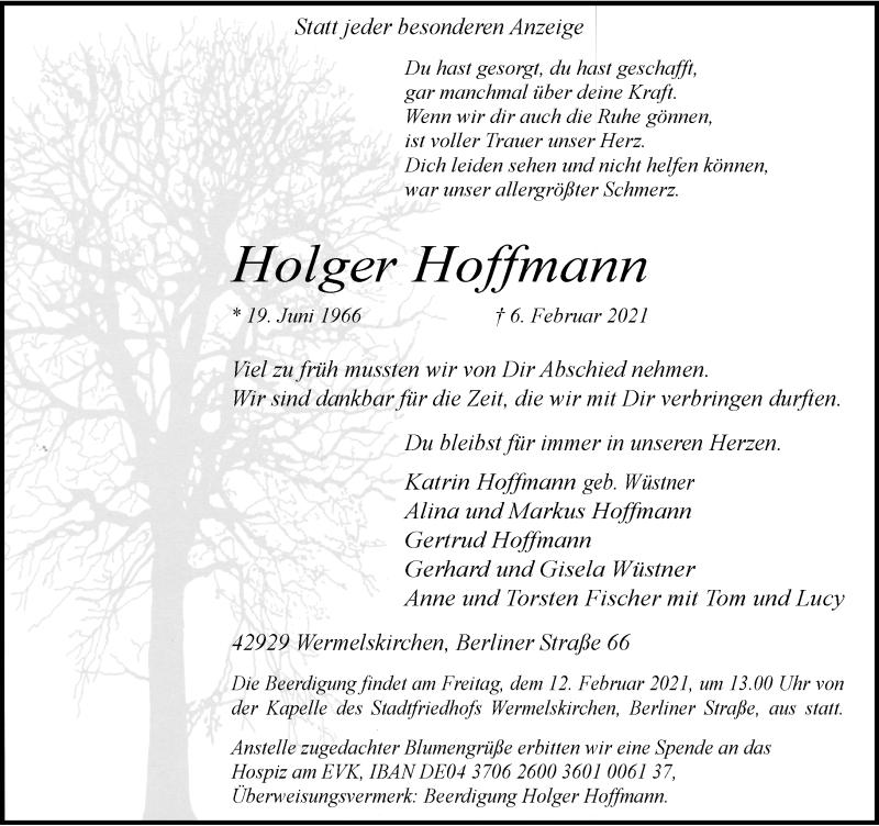 Traueranzeige für Holger Hoffmann vom 09.02.2021 aus Rheinische Post