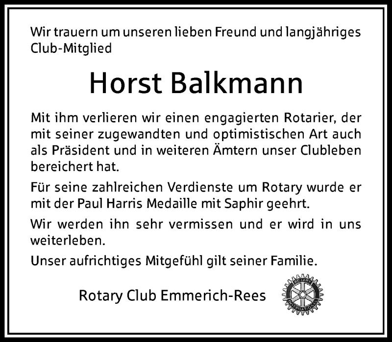 Traueranzeige für Horst Balkmann vom 09.02.2021 aus Rheinische Post