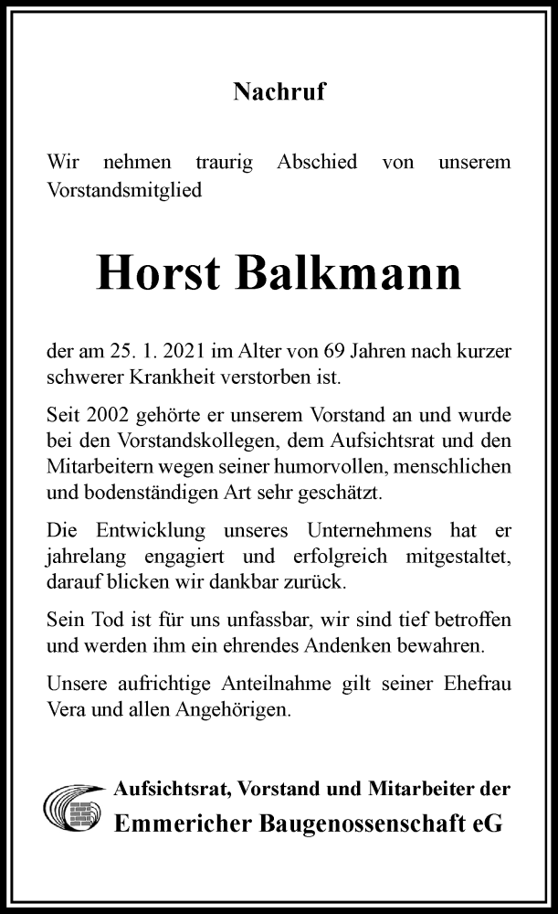 Traueranzeige für Horst Balkmann vom 10.02.2021 aus Rheinische Post