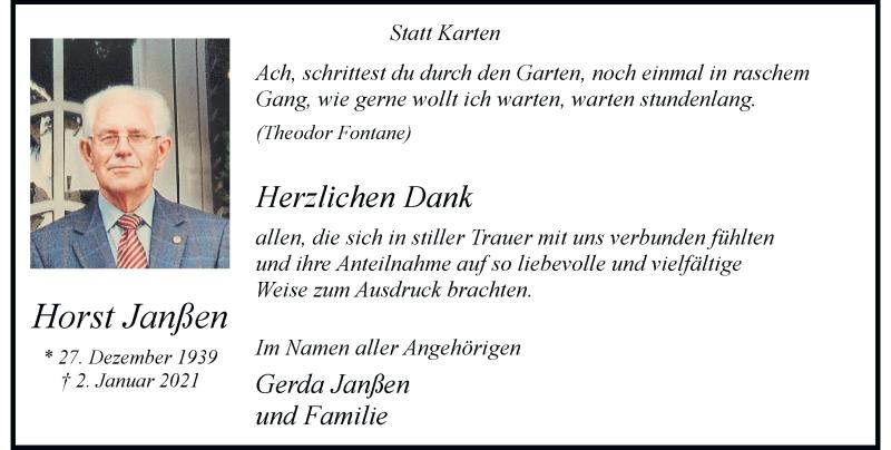 Traueranzeige für Horst Janßen vom 20.02.2021 aus Rheinische Post