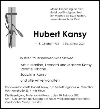 Traueranzeige von Hubert Kansy von Rheinische Post