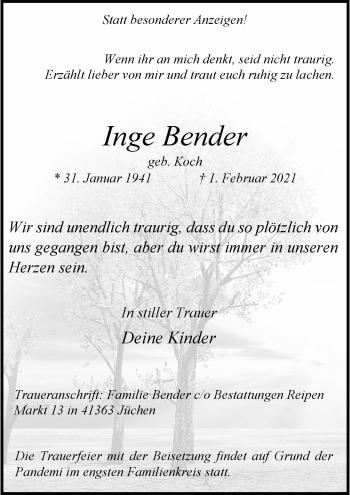 Traueranzeige von Inge Bender von Rheinische Post