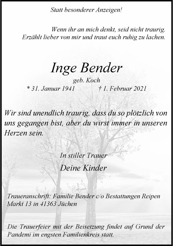 Traueranzeige für Inge Bender vom 06.02.2021 aus Rheinische Post