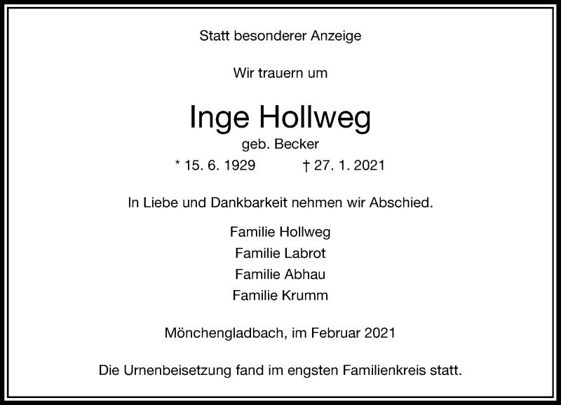 Traueranzeige für Inge Hollweg vom 27.02.2021 aus Rheinische Post