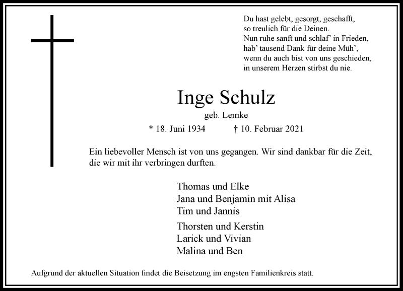 Traueranzeige für Inge Schulz vom 13.02.2021 aus Rheinische Post