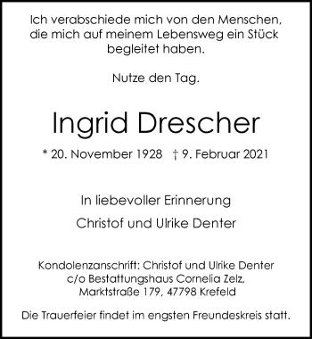 Traueranzeige von Ingrid Drescher von Rheinische Post