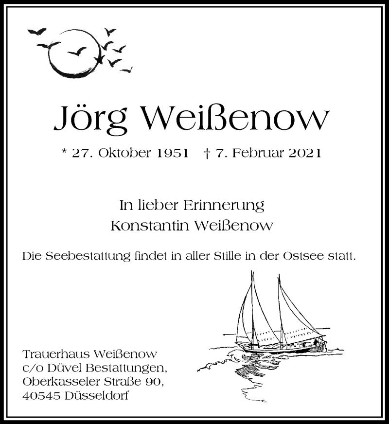 Traueranzeige für Jörg Weißenow vom 17.02.2021 aus Rheinische Post
