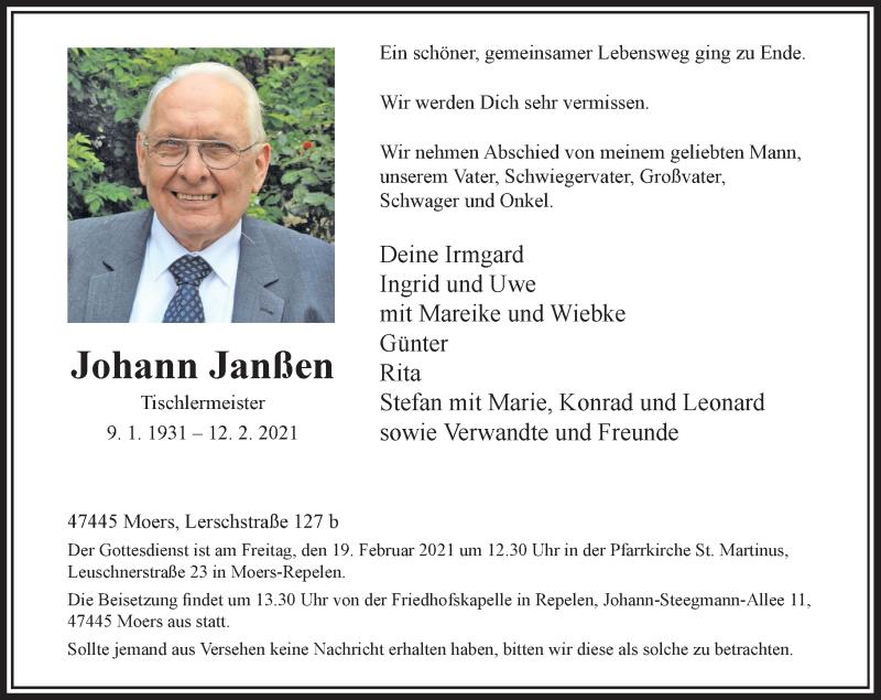 Traueranzeige für Johann Janßen vom 17.02.2021 aus Rheinische Post