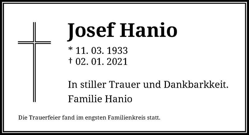 Traueranzeige für Josef Hanio vom 02.02.2021 aus Rheinische Post