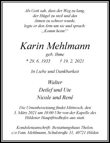 Traueranzeige von Karin Mehlmann von Rheinische Post